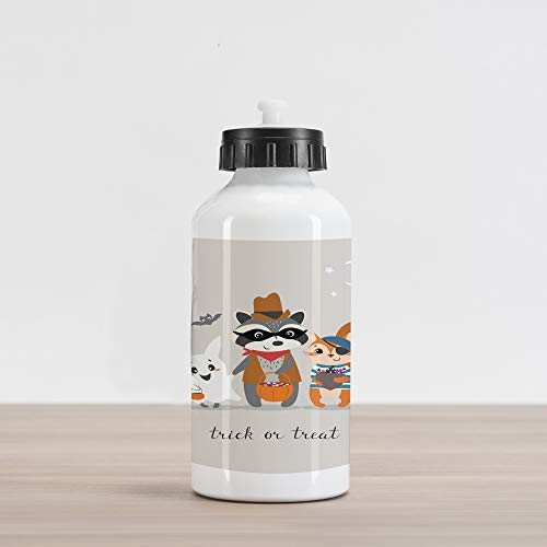 Ambesonne Ghost Aluminum Water Bottle, Trick or Treat Quote with Happy Forest Animals on Halloween Costumes Moon and Stars, Aluminum Insulated Spill-Proof Travel Sports Water Bottle, -