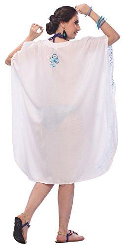 La Leela señoras 5 en 1 rayón peso ligero bordadas túnica superior noche vestido flores kimono dtraje baño dbikini informal encubrir loungewear ropa playa más corto caftán noche maternidad ocasional Blanco