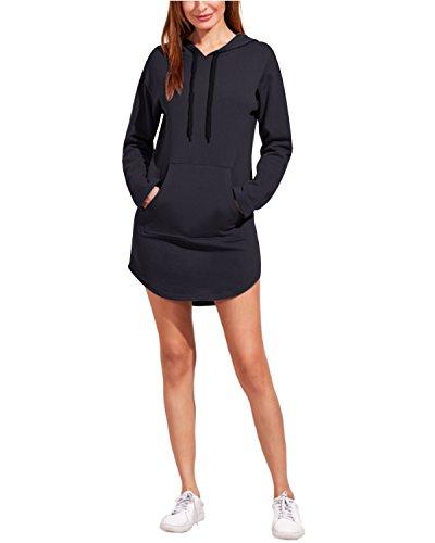 BIUBIU Dress Ladies Jumper Hoodie With Sweatshirt Tunic Long Sleeve Pockets Gray Dark qpxrHg4q