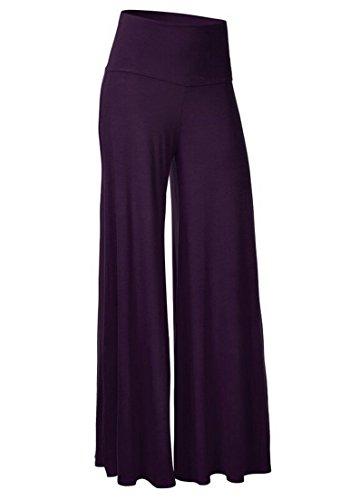 (Winter Capris Wide Leg Pants High Waist Trousers Women Pants Plus Big Size,Purple,XXXL)