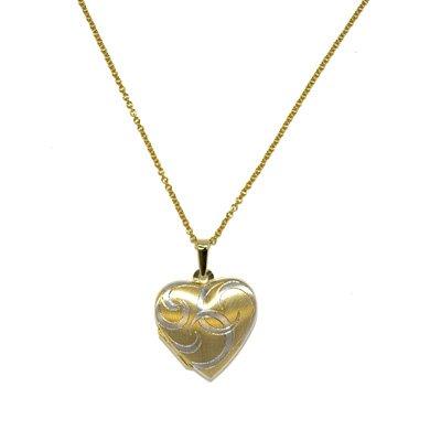 Deux tons or 18 carats Motif cœur et médaillon à graver-JewelryWeb