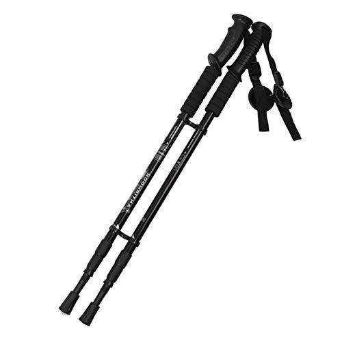 Alpenstocks 3 Section Adjustable Aluminum Alloy Canes Ultralight 65135cm Walking Camping Hiking Trekking Sticks Plastic Handle   Black,