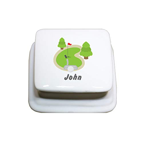 Style In Print Personalized Custom Text Golf Fireld Porcelain Treasure Box Porcelain Jewerly Box - Square ()