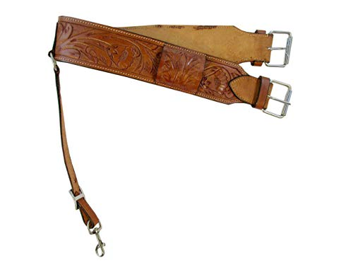 (Floral Tooled Leather Back Rear Cinch Flank Billet Western Horse Girth Trail TACK)