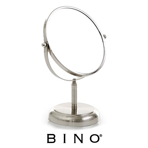 BINO 'The Classic' 6.5-Inch Double-Sided Mirror with 3x Magnification, Satin Nickel