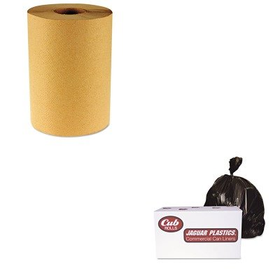 KITBWK6256JAGD38634BN - Value Kit - Jaguar Plastics D38634BN Brown Industrial Strength 2.7 Mil Drum Can Liners, 38quot; x 63quot; (JAGD38634BN) and Boardwalk 6256 Natural Hardwound Roll Paper Towels, 8quot; x 800' (BWK6256)