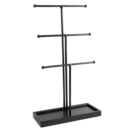 Three Tier Jewelry Stand with Wooden Base by Arad