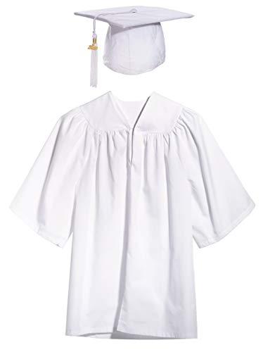 White Preschool Graduation Cap, Gown, Tassel, Sash, Ring,