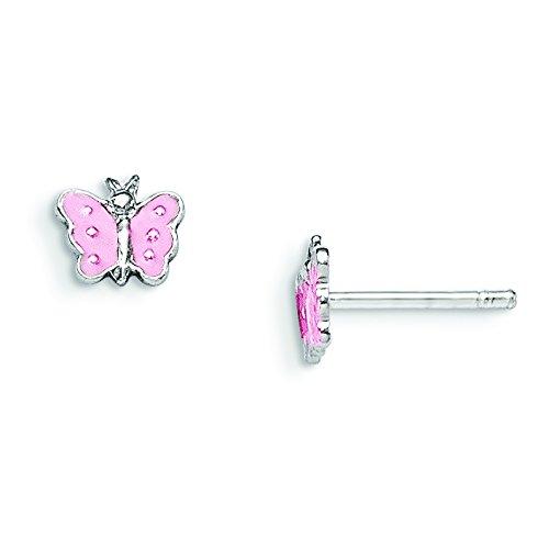 (Sterling Silver RH Plated Child's Enameled Butterfly Earrings)