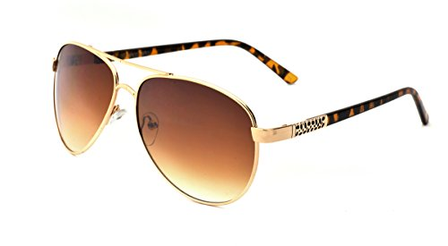Franco Sarto Women's Aviator Sunglasses, Gold Tortoise Two Tone Frame, APG Brown Flash Mirror Lens, - Franco Sunglasses