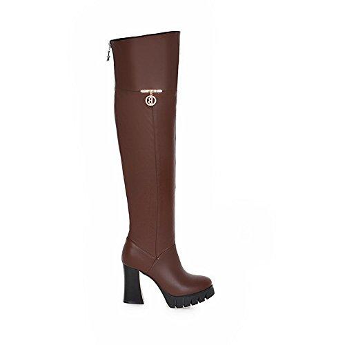 AdeeSu Womens Fashion Slip-Resistant Platform Urethane Boots SXC02325 Brown WXiym