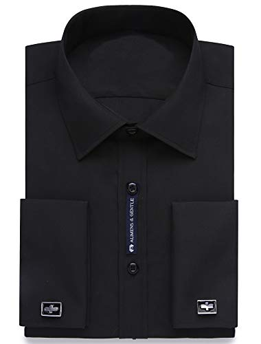 Alimens & Gentle French Cuff Regular Fit Dress Shirts (Cufflink Included), Black, 17.5 Neck - 34/35 Sleeve ()
