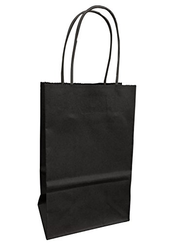 Small Colorful Kraft Paper Bags with Natural Fiber Handles, 5.5' wide (Black)