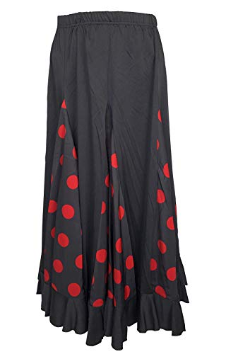 La Senorita Spanish Flamenco Skirt Adults Black with red dots (Size M)