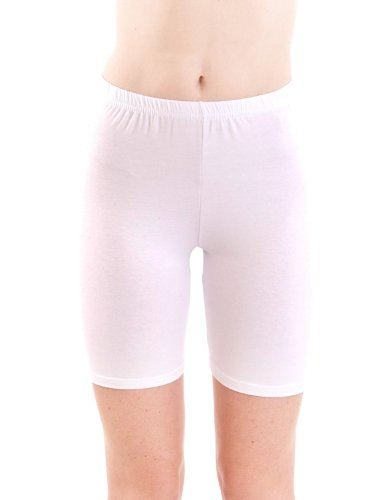 Ladies White Mid Thigh Cotton Spandex Active Shorts, Large