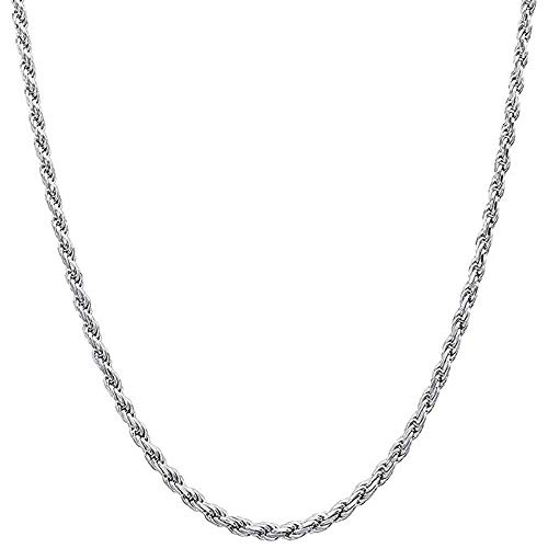 FZTN Jewelry Mens Womens Rope Chain Necklace Polished Diamond Cut White Gold Plated Over Stainless Steel Link Choker Necklace 18 ()