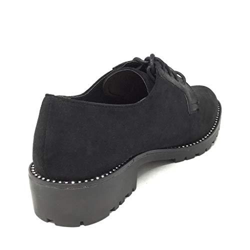 Noir 5 Femme Simple Mode Angkorly Bloc Classique Chaussure Basique 3 Talon Cm Derbies Clouté q4WHUOSw