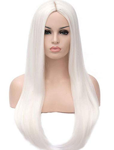 Qaccf Women's Long Straight Middle Part Synthetic Cosplay Costume Full Wig (White) ()