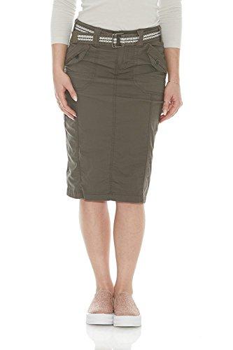Esteez Women's Knee Length Stretch Poplin Cargo Skirt Virginia Fatigue 12