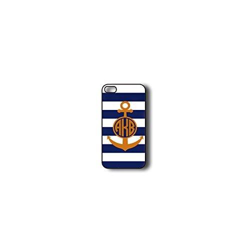 Krezy Case Monogram iphone 4 Case, blue stripes with Anchor Monogram iphone 4 Case, Monogram iphone 4 Case, iphone...