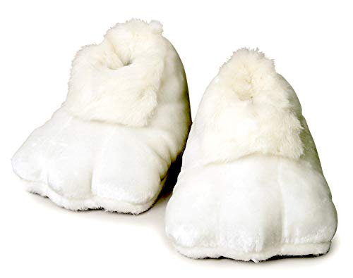 Rubies Plush Adult Bunny Shoes, White, One Size