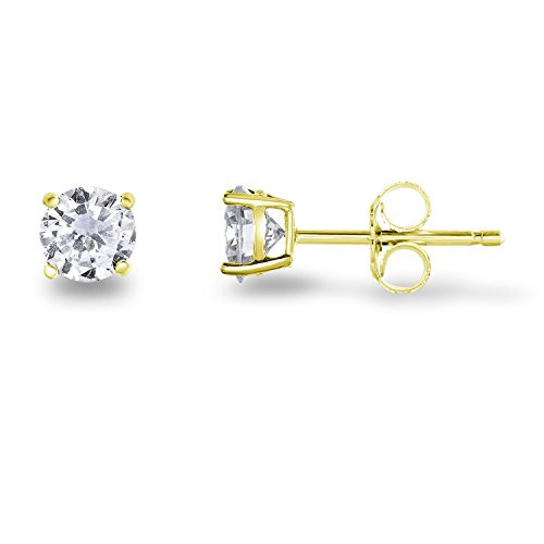 Yellow Gold Plated Sterling Silver Cubic Zirconia Classic Basket Prong Set Stud Earrings, (5mm)