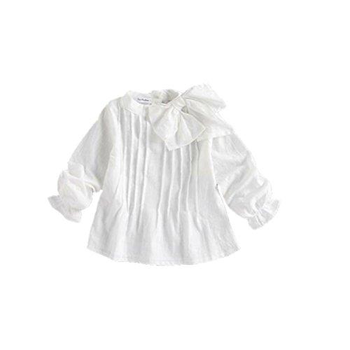 Girls Bow Knot Stand Collar Ruffle Long Sleeve Blouses Shirt Tops A805