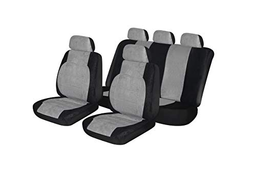 Seat Bucket Sport (Autonise Universal fit Classic Sport Bucket seat Cover (Fit Most Car,Truck, SUV, or Van with headrest) Airbag Compatible (Alcantara Gray, Full Set))
