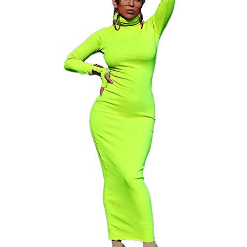 - Limtery Women's Sexy Turtleneck Long Sleeve Front Zipper Bodycon Party Dress (Small, Green01)