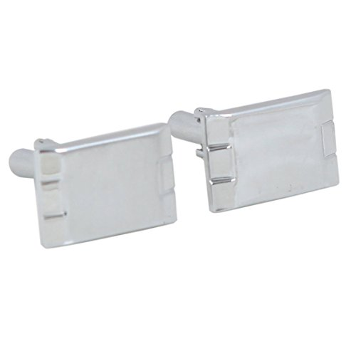 C7081 Silver Rectangular Designer Cufflinks Personalized Gifts Set By Y&G