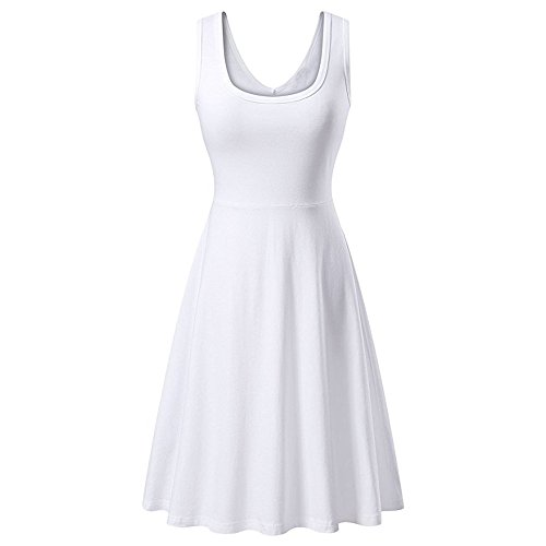 (Dress for Women Sleeveless V Neck Solid Backless Pleated Swing Flowy Cocktail Dresses (L, White))