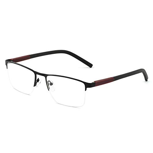 Designer Prescription Eyeglasses - OCCI CHIARI Metal Optical Eyewear Non-prescription Eyeglasses Frame with Clear Lenses for Mens (Black+Wine)