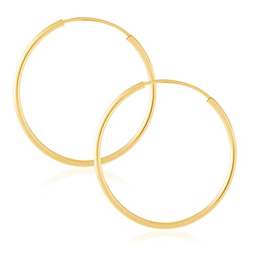 Juliette Collection 14k Yellow Gold Women's Endless Tube Hoop Earrings 1mm-1.5mm Thick 10mm - 60mm Diameter
