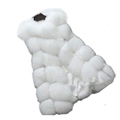 Women Import Fox Fur Vest Coat Warm Fur Vest Coat Women Long Faux Fur Vest Winter Coat Jacket Outwear (L, White)