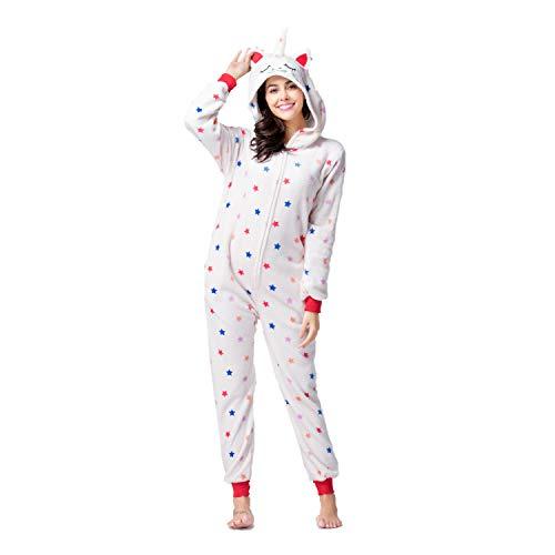 RONGTAI Adults Unisex Animal Flannel Unicorn Onesie Pajamas Cosplay Costume(M,New Star -