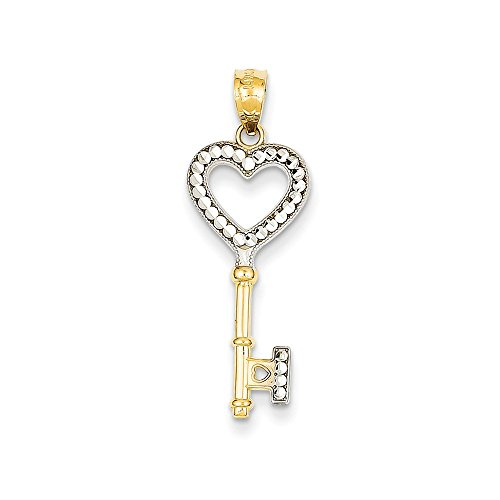 - 14k Yellow Gold White Heart Key Pendant Charm Necklace Fine Jewelry Gifts For Women For Her