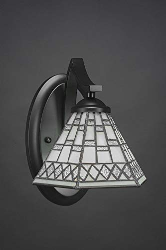 """Toltec Lighting 551-MB-9105 Zilo - 5.25"""" One Light Wall Sconce, Matte Black Finish with Pewter Tiffany Glass"""