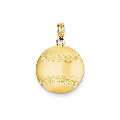 14K Gold Diamond-Cut Baseball Charm Pendant (0.83 in x 0.71 in) Diamond Cut Baseball Charm