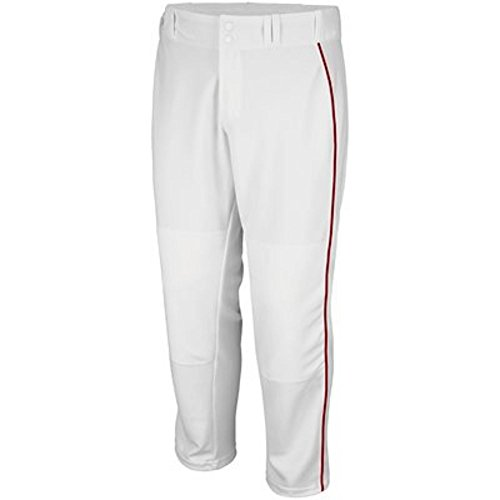 .Majestic Athletic Adult Cool Base Premier Relaxed Fit Pant (White w/Scarlet Piping, Medium) -