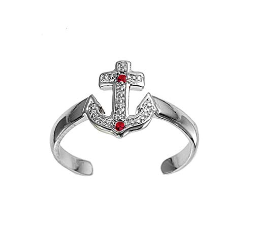 Princess Kylie Synthetic Ruby Cubic Zirconia Cross Anchor Knuckle/Toe Ring Sterling Silver