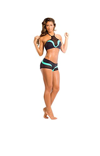 BodyZone Apparel Yoga & Fitness Rainbow Two-Tone Halter Top and Scrunch Back Short Set. Black/Mint. Medium/Large. Made in the USA.