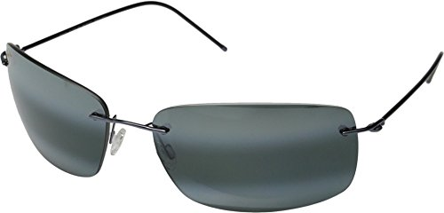 Maui Jim Frigate Sunglasses, Gunmetal Blue with Black Sleeve/Neutral Grey, One - Jim Maui Sport Titanium