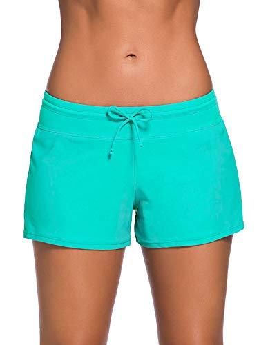 SATINIOR Women Swimsuit Shorts Tankini Swim Briefs Plus Size Bottom Boardshort Summer Swimwear Beach Trunks for Girls (Green, XXL)