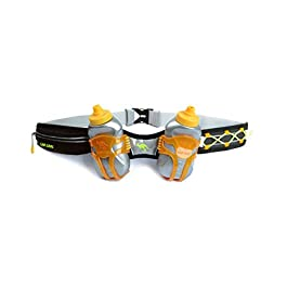 247 Viz Hydration Belt – Fits iPhone 8, X and Similar Phones – with 2 BPA Free Water Bottles and Pouch System – Running Fuel Belt & Runners Reflective Gear for High Visibility