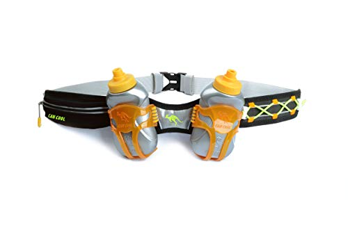 247 Viz Hydration Belt - Fits iPhone 8, X and Similar Phones - with 2 BPA Free Water Bottles and Pouch System - Running Fuel Belt & Runners Reflective Gear for High Visibility (Black)