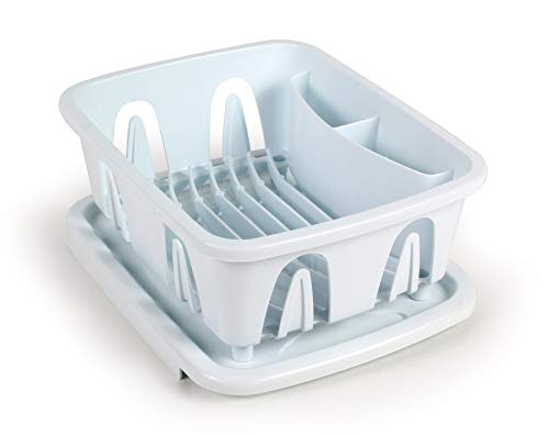 Camco Durable Mini Dish Drainer Rack and Tray Perfect for RV Sinks, Marine Sinks, and Compact Kitchen Sinks- White (43511)