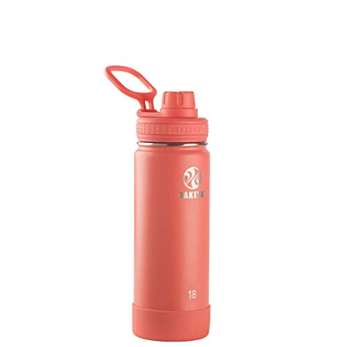 Takeya Actives Insulated Stainless Steel Water Bottle with Spout Lid, 18 oz, Coral