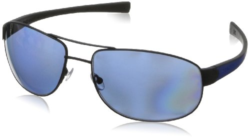 Tag Heuer Lrs252404 Rectangular Sunglasses,Matte Black & Cobalt Blue,63 - Tagheuer Sunglasses