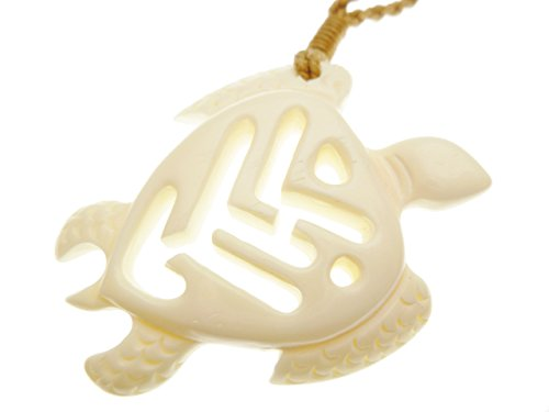 (Aloha Passion Turtle Carved Buffalo bone pendant with adjust brown cord)