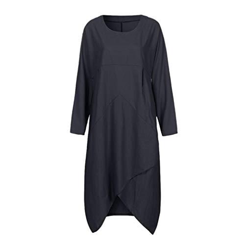 Coton Femme Longues Unie Taille Robe Tunique Baggy FeiXiang Noir Lin Taille Robe Robe Manches Femmes en Grande pour Couleur Grande Longue et Vintage 4W1TngnOxq